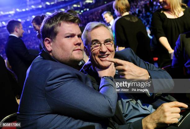 James Corden and Larry Lamb during the National Television Awards 2010 at the 02 Arena London