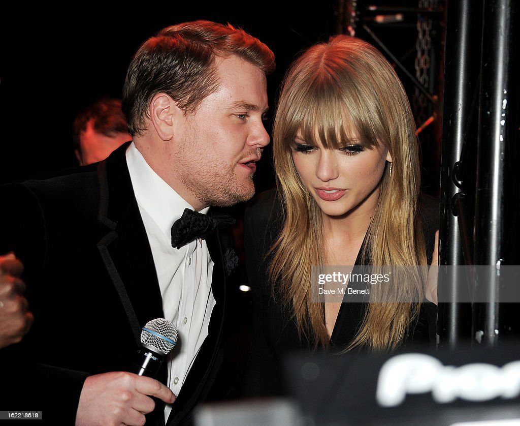 <a gi-track='captionPersonalityLinkClicked' href=/galleries/search?phrase=James+Corden&family=editorial&specificpeople=673860 ng-click='$event.stopPropagation()'>James Corden</a> (L) and <a gi-track='captionPersonalityLinkClicked' href=/galleries/search?phrase=Taylor+Swift&family=editorial&specificpeople=619504 ng-click='$event.stopPropagation()'>Taylor Swift</a> attend the Universal Music Brits Party hosted by Bacardi at the Soho House pop-up on February 20, 2013 in London, England.