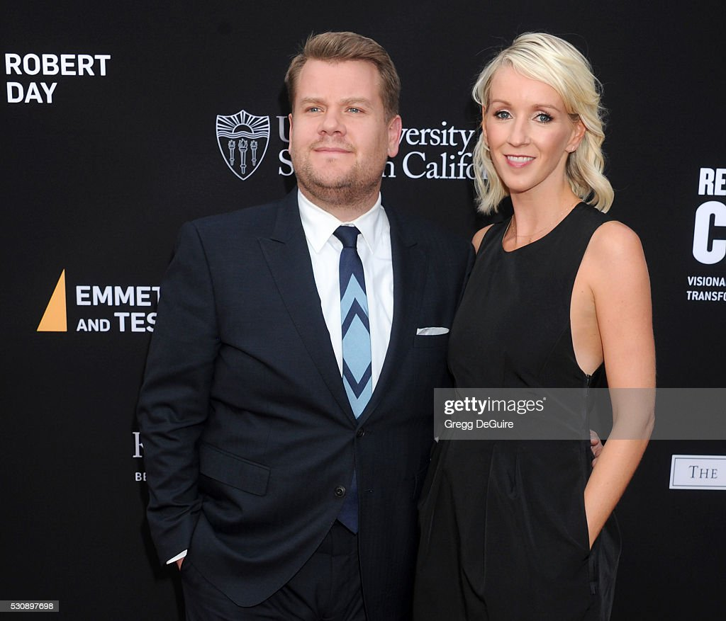 James Corden and wife Julia Carey arrive at the 3rd Biennial Rebels With A Cause Fundraiser at Barker Hangar on May 11, 2016 in Santa Monica, California.