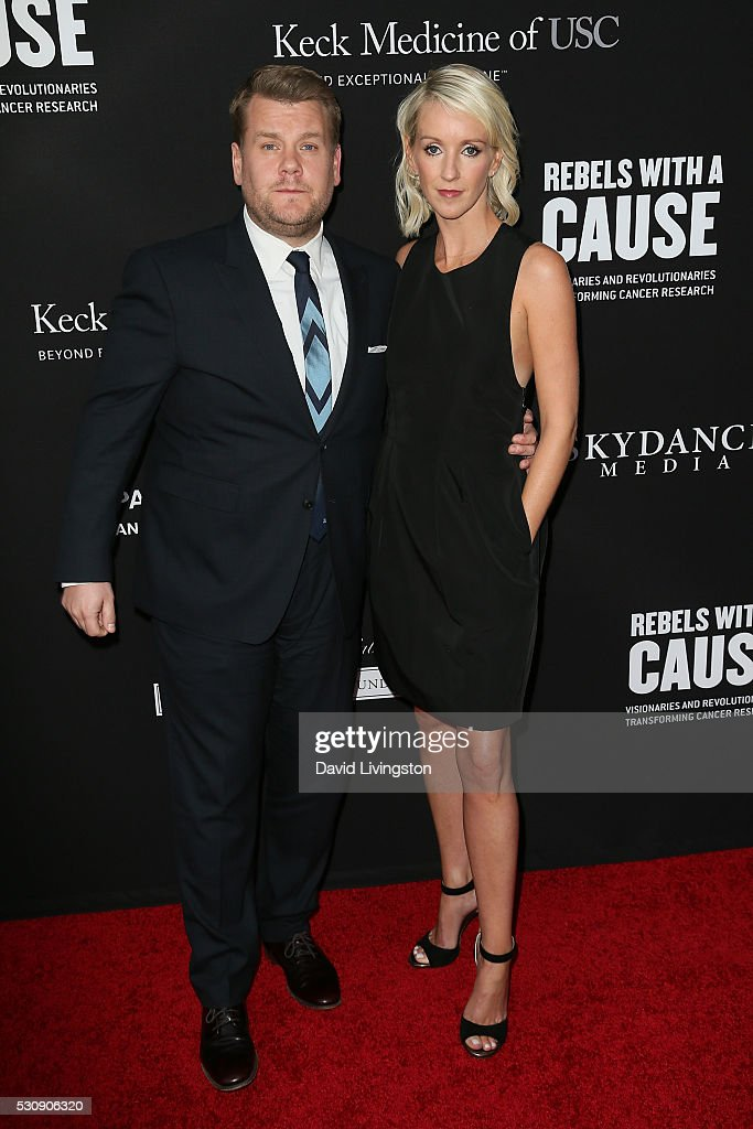 James Corden and wife Julia Carey arrive at the 3rd Biennial Rebels with a Cause Fundraiser on May 11, 2016 in Santa Monica, California.