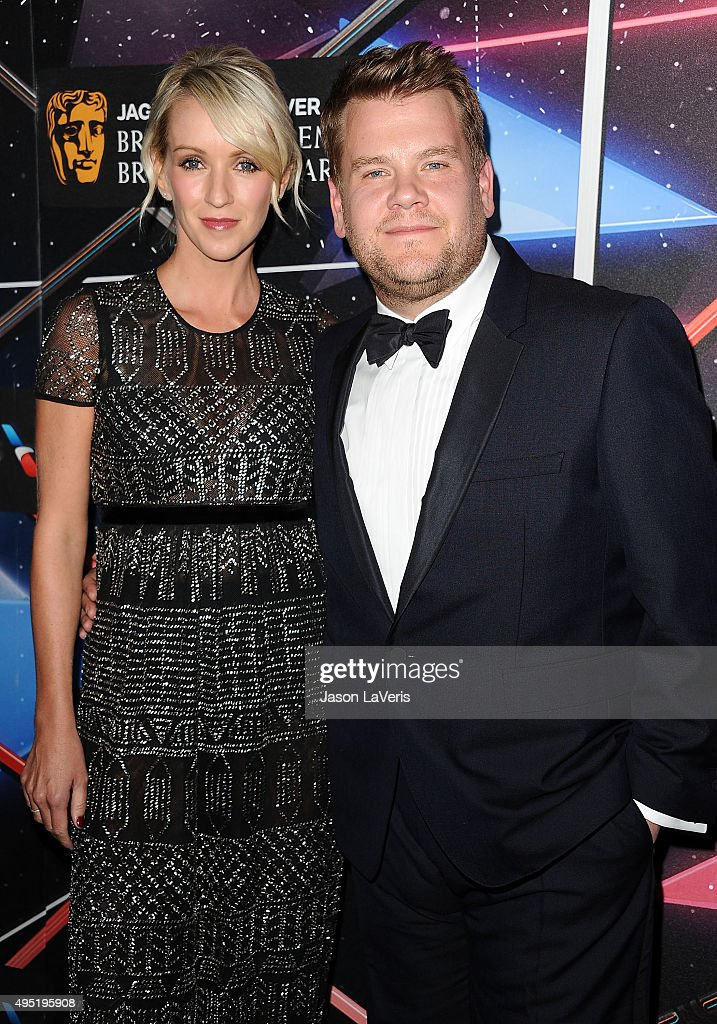 James Corden and wife Julia Carey attend the 2015 British Academy Britannia Awards at The Beverly Hilton Hotel on October 30, 2015 in Beverly Hills, California.