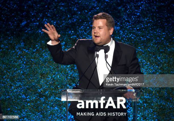 James Corden at amfAR Los Angeles 2017 at Ron Burkle's Green Acres Estate on October 13 2017 in Beverly Hills Californi