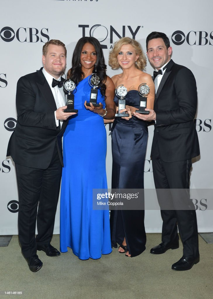 <a gi-track='captionPersonalityLinkClicked' href=/galleries/search?phrase=James+Corden&family=editorial&specificpeople=673860 ng-click='$event.stopPropagation()'>James Corden</a>, Best Performance by a Leading Actor in a Play for One Man, Two Guvnors, Audra McDonald, Best Performance by a Leading Actress in a Musical for Porgy and Bess, Nina Arianda, Best Performance by a Leading Actress in a Play for Venus in Fur, and Steve Kazee, Best Performance by a Leading Actor in a Musical for Once, pose in the press room during the 66th Annual Tony Awards at the The Jewish Community Center in Manhattan on June 10, 2012 in New York City.