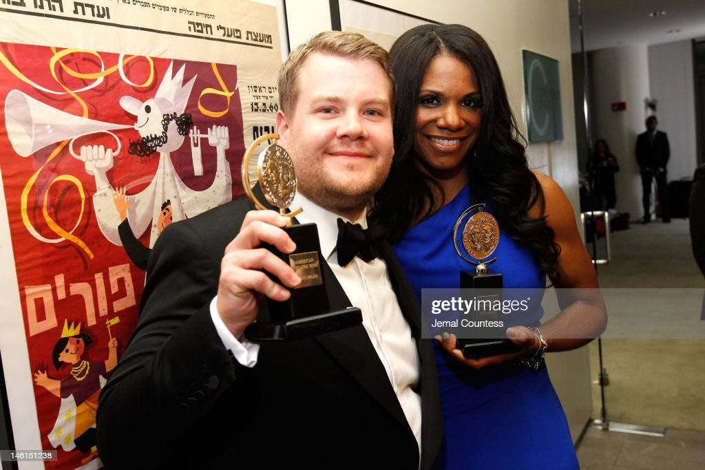 <a gi-track='captionPersonalityLinkClicked' href=/galleries/search?phrase=James+Corden&family=editorial&specificpeople=673860 ng-click='$event.stopPropagation()'>James Corden</a>, Best Performance by a Leading Actor in a Play for One Man, Two Guvnors and Audra McDonald, Best Performance by a Leading Actress in a Musical for Porgy and Bess, pose in the press room at the 66th Annual Tony Awards at The Beacon Theatre on June 10, 2012 in New York City.