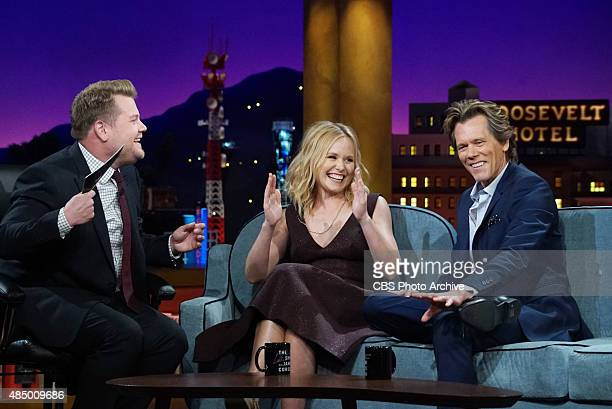 James Corden chats with actress Alison Pill and Actor Kevin Bacon' on Monday August 10 2015 on The CBS Television Network
