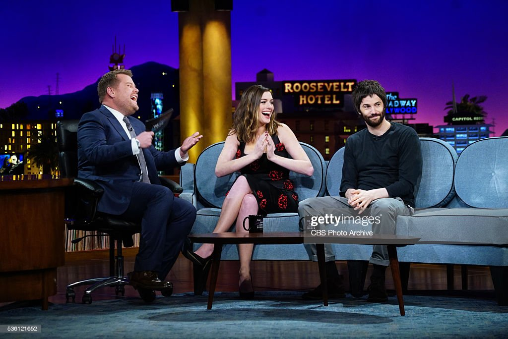 James Corden chats with Anne Hathaway and Jim Sturgess on 'The Late Late Show with James Corden' Tuesday May 24th 2016 on The CBS Television Network