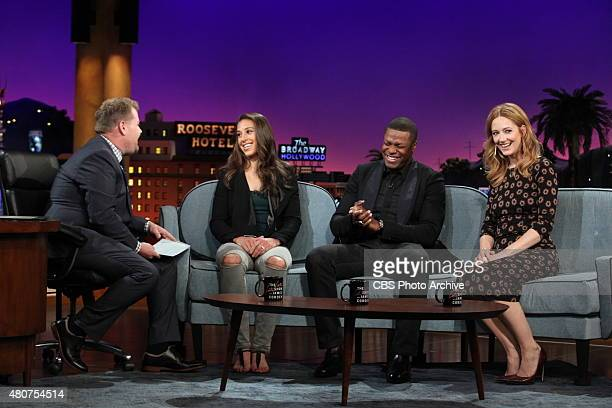 James Corden chats with Carli Lloyd Chris Tucker and Judy Greer on 'The Late Late Show with James Corden' Monday July 13 2015 on The CBS Television...