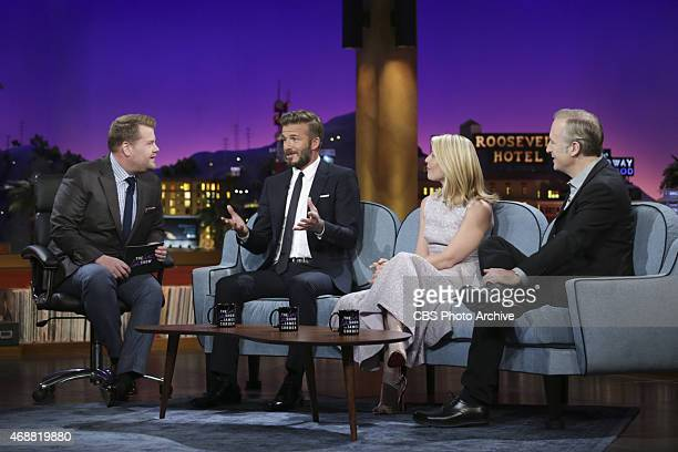 James Corden chats with guests David Beckham Claire Danes and Bob Odenkirk on 'The Late Late Show with James Corden' Monday March 30 on the CBS...