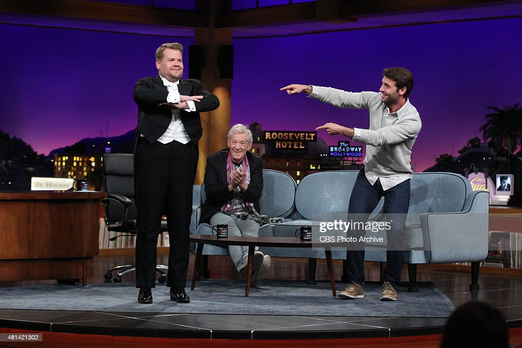 James Corden chats with Ian McKellen and James Wolk on 'The Late Late Show with James Corden' Thursday July 16 2015 on The CBS Television Network