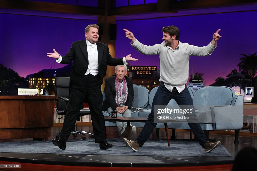 <a gi-track='captionPersonalityLinkClicked' href=/galleries/search?phrase=James+Corden&family=editorial&specificpeople=673860 ng-click='$event.stopPropagation()'>James Corden</a> chats with <a gi-track='captionPersonalityLinkClicked' href=/galleries/search?phrase=Ian+McKellen&family=editorial&specificpeople=202983 ng-click='$event.stopPropagation()'>Ian McKellen</a> and <a gi-track='captionPersonalityLinkClicked' href=/galleries/search?phrase=James+Wolk&family=editorial&specificpeople=6966494 ng-click='$event.stopPropagation()'>James Wolk</a> on 'The Late Late Show with <a gi-track='captionPersonalityLinkClicked' href=/galleries/search?phrase=James+Corden&family=editorial&specificpeople=673860 ng-click='$event.stopPropagation()'>James Corden</a>,' Thursday, July 16, 2015 on The CBS Television Network.