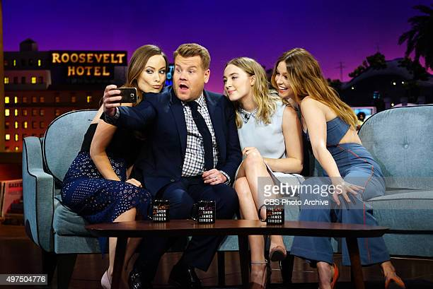 James Corden chats with Olivia Wilde Saoirse Ronan and Melissa Benoist on 'The Late Late Show with James Corden' Thursday November 12 2015 on The CBS...