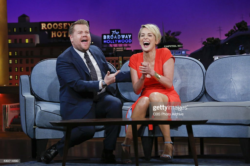 James Corden chats with Sharon Stone on 'The Late Late Show with James Corden' Thursday May 5 on The CBS Television Network