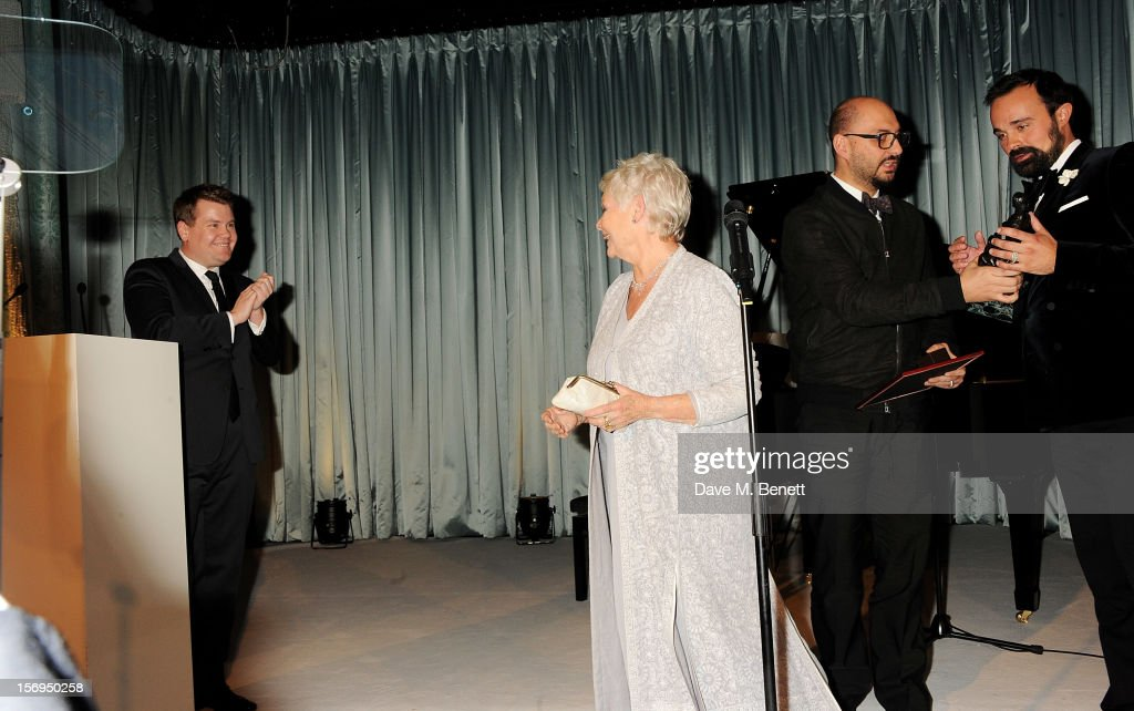 James Corden, Dame Judi Dench and Evgeny Lebedev attend the 58th London Evening Standard Theatre Awards in association with Burberry at The Savoy Hotel on November 25, 2012 in London, England.