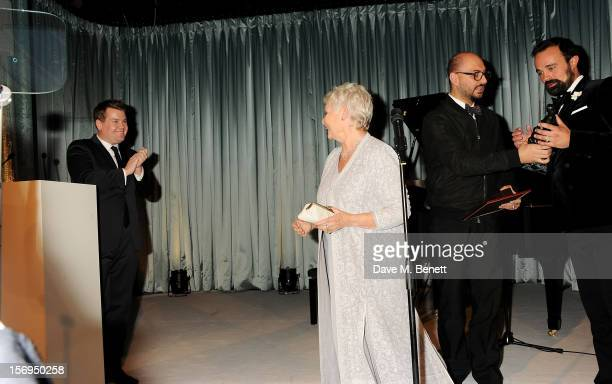 James Corden Dame Judi Dench and Evgeny Lebedev attend the 58th London Evening Standard Theatre Awards in association with Burberry at The Savoy...