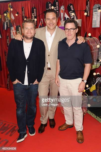 James Corden David Walliams and Rob Brydon attend the closing night of 'Monty Python Live ' at The O2 Arena on July 20 2014 in London England