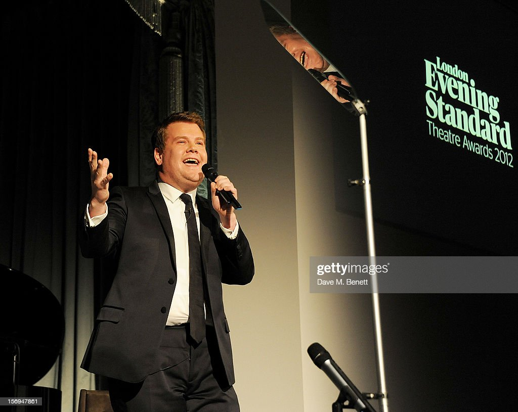 <a gi-track='captionPersonalityLinkClicked' href=/galleries/search?phrase=James+Corden&family=editorial&specificpeople=673860 ng-click='$event.stopPropagation()'>James Corden</a> hosts the 58th London Evening Standard Theatre Awards in association with Burberry at The Savoy Hotel on November 25, 2012 in London, England.