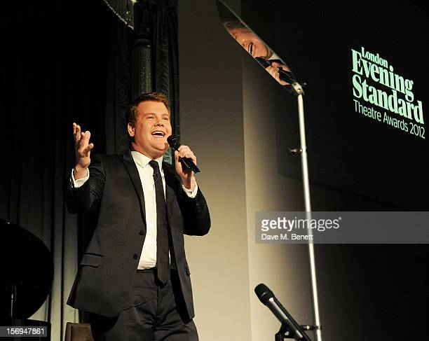 James Corden hosts the 58th London Evening Standard Theatre Awards in association with Burberry at The Savoy Hotel on November 25 2012 in London...