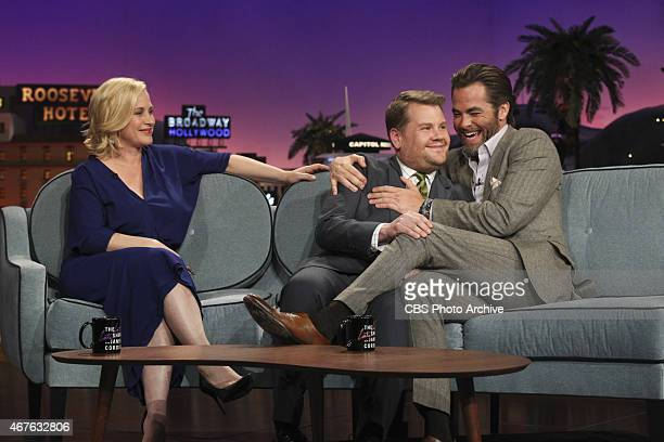 James Corden interviews guests Patricia Arquette and Chris Pine on 'The Late Late Show with James Corden' Tuesday March 24 on the CBS Television...