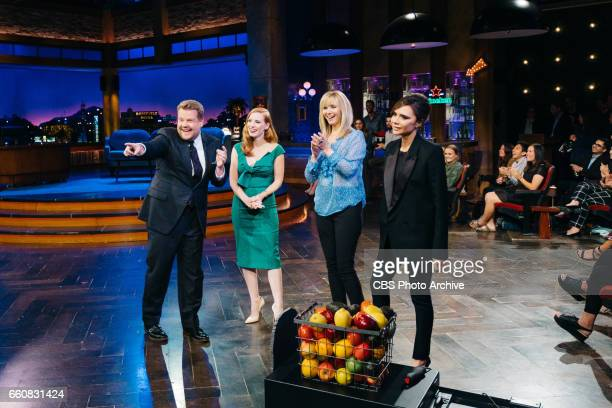 James Corden Jessica Chastain Lisa Kudrow and Victoria Beckham perform in Flinch during 'The Late Late Show with James Corden' Wednesday March 29...