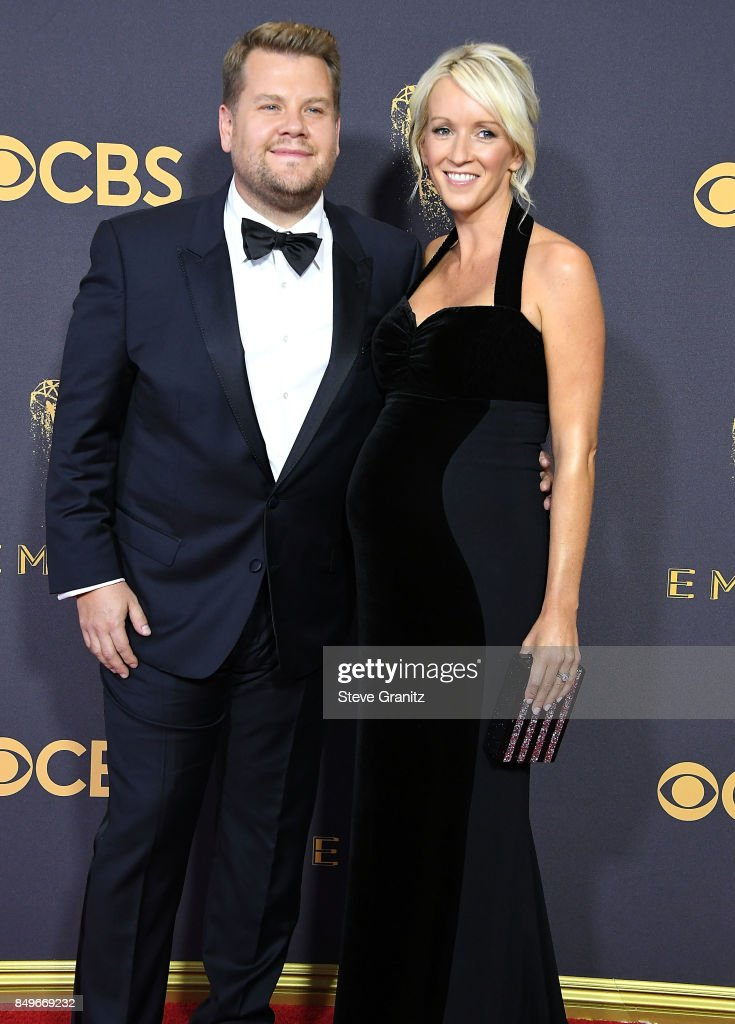 James Corden, Julia Carey arrives at the 69th Annual Primetime Emmy Awards at Microsoft Theater on September 17, 2017 in Los Angeles, California.