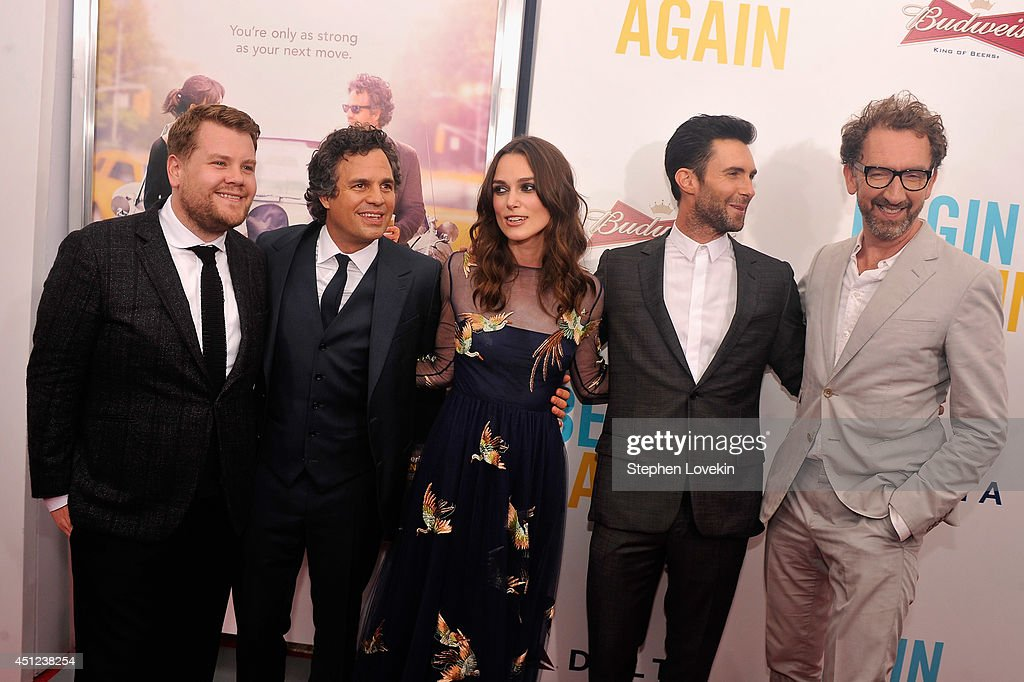 <a gi-track='captionPersonalityLinkClicked' href=/galleries/search?phrase=James+Corden&family=editorial&specificpeople=673860 ng-click='$event.stopPropagation()'>James Corden</a>, <a gi-track='captionPersonalityLinkClicked' href=/galleries/search?phrase=Keira+Knightley&family=editorial&specificpeople=202053 ng-click='$event.stopPropagation()'>Keira Knightley</a>, <a gi-track='captionPersonalityLinkClicked' href=/galleries/search?phrase=Mark+Ruffalo&family=editorial&specificpeople=209317 ng-click='$event.stopPropagation()'>Mark Ruffalo</a>, <a gi-track='captionPersonalityLinkClicked' href=/galleries/search?phrase=Adam+Levine+-+Singer&family=editorial&specificpeople=202962 ng-click='$event.stopPropagation()'>Adam Levine</a> and <a gi-track='captionPersonalityLinkClicked' href=/galleries/search?phrase=John+Carney+-+Film+Director&family=editorial&specificpeople=4510422 ng-click='$event.stopPropagation()'>John Carney</a> attend the New York premiere of the Weinstein company's BEGIN AGAIN, sponsored by Delta Airlines and Budweiser at SVA Theater on June 25, 2014 in New York City.