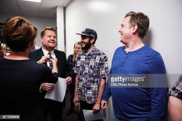 James Corden looks over the monologue with writers Ari Blau and Jared Logan during 'The Late Late Show with James Corden' Tuesday August 1 2017 On...