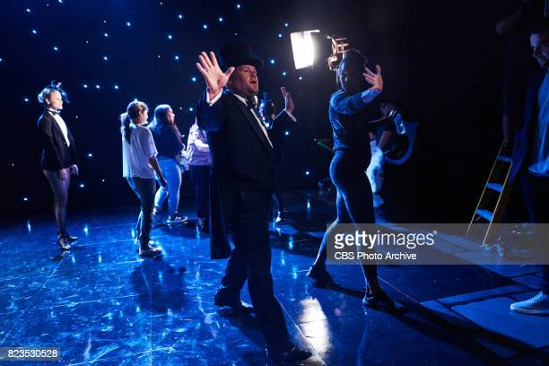 James Corden performs an opening song celebrating the LGBTQ military service members during 'The Late Late Show with James Corden' Wednesday July 26...