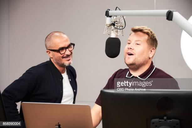 James Corden performs in a Take A Break sketch at Apple Music's Beats 1 Radio studio with Zane Lowe and Ezra Koenig during 'The Late Late Show with...