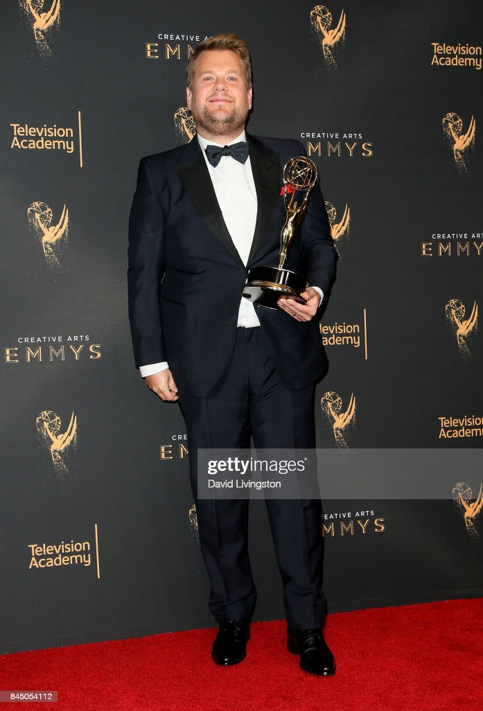 James Corden poses in the press room with the award for Outstanding Variety Special during the 2017 Creative Arts Emmy Awards at Microsoft Theater on September 9, 2017 in Los Angeles, California.