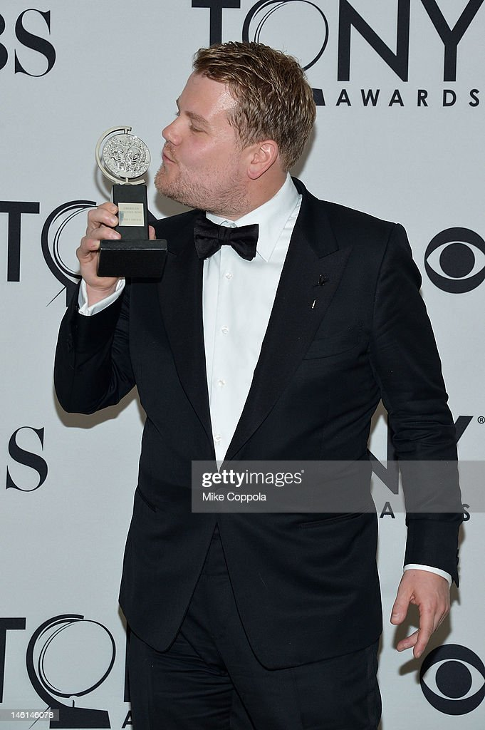 <a gi-track='captionPersonalityLinkClicked' href=/galleries/search?phrase=James+Corden&family=editorial&specificpeople=673860 ng-click='$event.stopPropagation()'>James Corden</a> poses with his award for Best Performance by a Leading Actor for his One Man, Two Guvnors performance as Francis Henshall in a Play in the press room at the 66th Annual Tony Awards at The Beacon Theatre on June 10, 2012 in New York City.