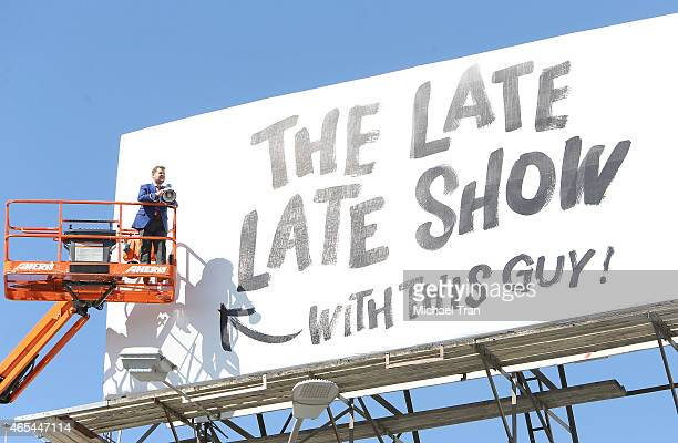 James Corden puts up billboard for 'The Late Late Show' held on March 6 2015 in Los Angeles California