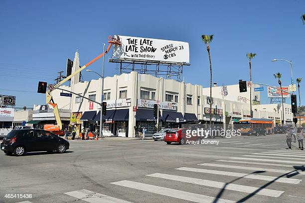 James Corden puts up billboard for 'The Late Late Show' on March 6 2015 in Los Angeles California
