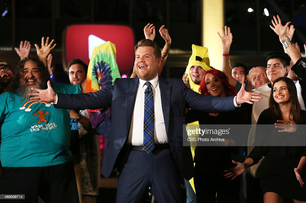 James Corden sings and dances in the opening musical number for YouTube Space LA episode of 'The Late Late Show with James Corden' airing Friday...