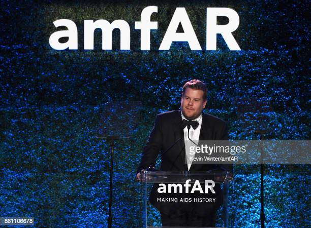 James Corden speaks onstage at the amfAR Gala Los Angeles 2017 at Ron Burkle's Green Acres Estate on October 13 2017 in Beverly Hills California
