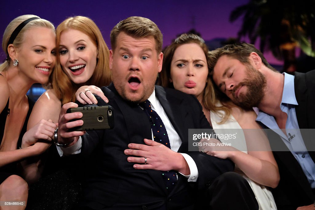 James Corden takes a selfie with Charlize Theron Jessica Chastain Emily Blunt and Chris Hemsworth on 'The Late Late Show with James Corden' Thursday...