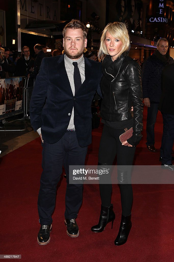 James Cordon and <a gi-track='captionPersonalityLinkClicked' href=/galleries/search?phrase=Julia+Carey&family=editorial&specificpeople=6752089 ng-click='$event.stopPropagation()'>Julia Carey</a> attend the UK premiere of 'Anchorman 2: The Legend Continues' at the Vue West End on December 11, 2013 in London, England.