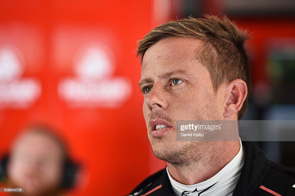 <a gi-track='captionPersonalityLinkClicked' href=/galleries/search?phrase=James+Courtney&family=editorial&specificpeople=675267 ng-click='$event.stopPropagation()'>James Courtney</a> driver of the #22 Holden Racing Team Holden Commodore VF during practice for the V8 Supercars Perth SuperSprint at Barbagallo Raceway on May 6, 2016 in Perth, Australia.