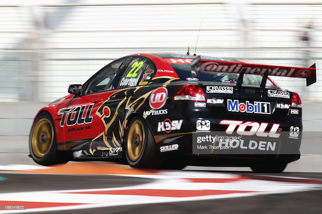 <a gi-track='captionPersonalityLinkClicked' href=/galleries/search?phrase=James+Courtney&family=editorial&specificpeople=675267 ng-click='$event.stopPropagation()'>James Courtney</a> drives the Holden Racing Team Commodore during the V8 Supercars qualifying session at the Yas Marina Circuit on November 2, 2012 in Abu Dhabi, United Arab Emirates.