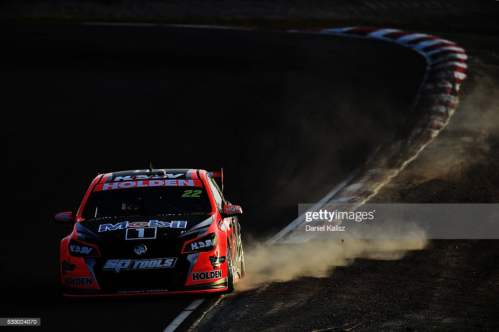James Courtney drives the Holden Racing Team Holden Commodore VF during practice ahead of the Winton round of V8 SUpercars at Winton Motor Raceway on...