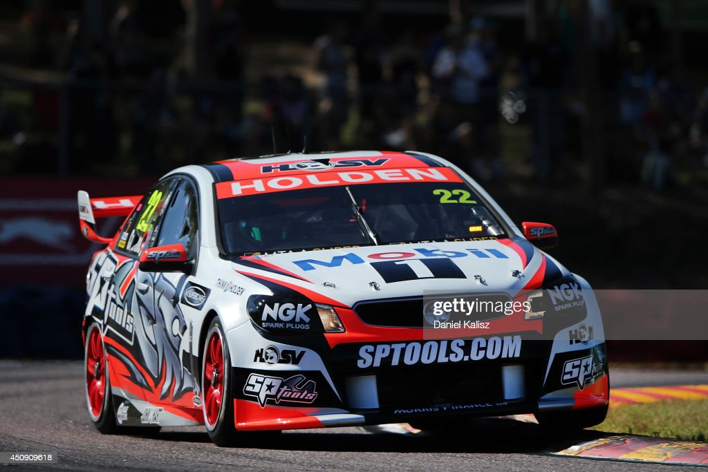 <a gi-track='captionPersonalityLinkClicked' href=/galleries/search?phrase=James+Courtney&family=editorial&specificpeople=675267 ng-click='$event.stopPropagation()'>James Courtney</a> drives the #22 Holden Racing Team Holden during practice for the Triple Crown Darwin, which is round six of the V8 Supercar Championship Series at Hidden Valley Raceway on June 20, 2014 in Darwin, Australia.