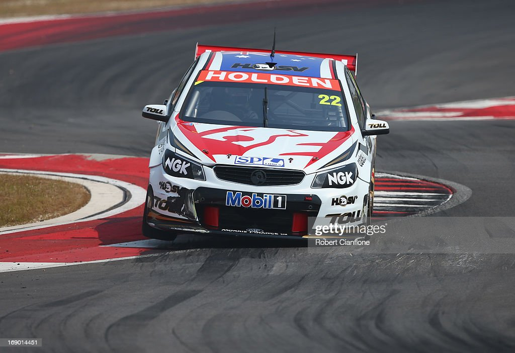 <a gi-track='captionPersonalityLinkClicked' href=/galleries/search?phrase=James+Courtney&family=editorial&specificpeople=675267 ng-click='$event.stopPropagation()'>James Courtney</a> drives the #22 Holden Racing Team Holden during race 13 for the Austin 400, which is round five of the V8 Supercar Championship Series at Circuit of The Americas on May 18, 2013 in Austin, Texas.