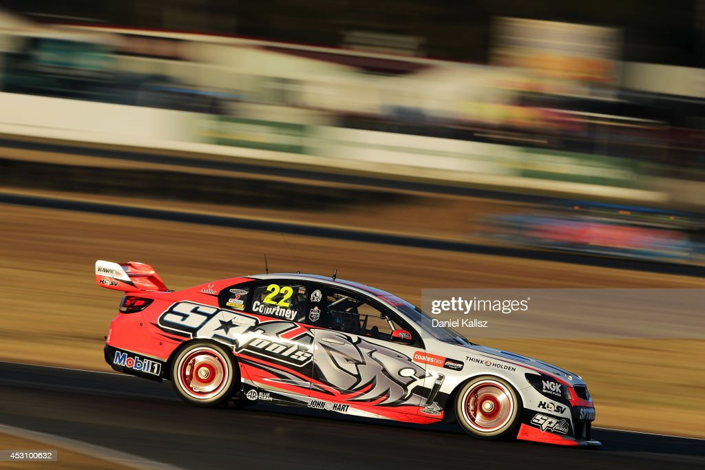 <a gi-track='captionPersonalityLinkClicked' href=/galleries/search?phrase=James+Courtney&family=editorial&specificpeople=675267 ng-click='$event.stopPropagation()'>James Courtney</a> drives the #22 Holden Racing Team Holden during race 25 for the Ipswich 400, which is round eight of the V8 Supercar Championship Series at Queensland Raceway on August 3, 2014 in Ipswich, Australia.