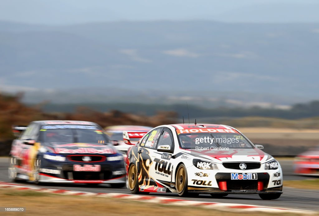 <a gi-track='captionPersonalityLinkClicked' href=/galleries/search?phrase=James+Courtney&family=editorial&specificpeople=675267 ng-click='$event.stopPropagation()'>James Courtney</a> drives the #22 Holden Racing Team Holden during race five of round two of the V8 Supercar Championship Series at Symmons Plains Raceway on April 7, 2013 in Launceston, Australia.