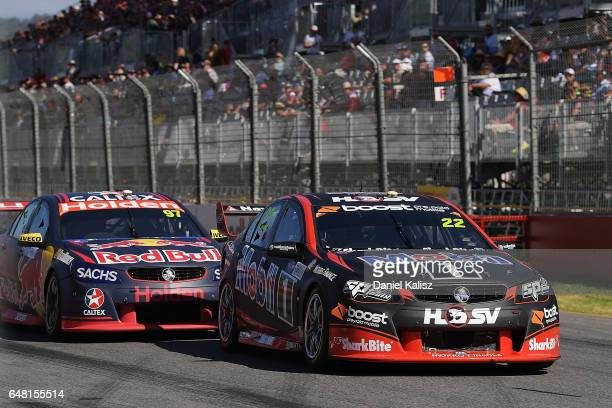 James Courtney drives the Mobil 1 HSV Racing Holden Commodore VF during race 2 for the Clipsal 500 which is part of the Supercars Championship at...