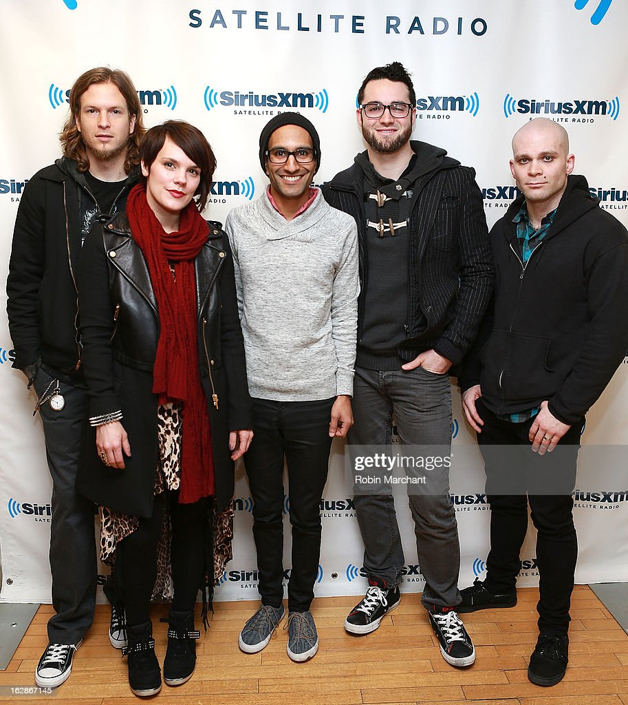 James Culpepper, Kristen May, Sameer Bhattacharya, Jared Hartmann and Pat Seals of Flyleaf at SiriusXM Studios on February 28, 2013 in New York City.
