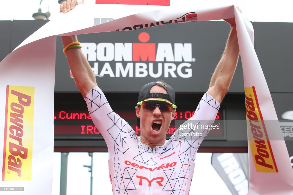 James Cunnama of South Africa celebrates after winning the IRONMAN Hamburg on August 13, 2017 in Hamburg, Germany.