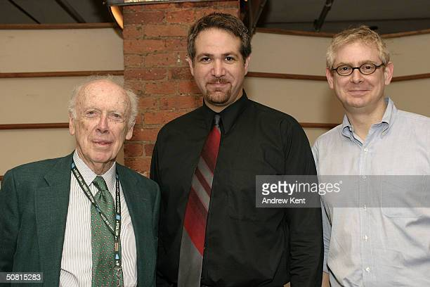 James D Watson and director David Baxter pose at the Unraveling The Code Rosalind Franklin and DNA panel during the 2004 Tribeca Film Festival May 8...