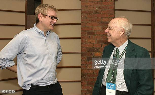 James D Watson and guest speak together at the Unraveling The Code Rosalind Franklin and DNA panel during the 2004 Tribeca Film Festival May 8 2004...