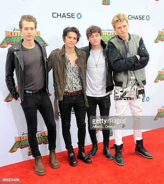 James Daniel McVey Bradley Simpson Connor Ball and Tristan Evans of The Vamps arrive for the premiere of DreamWorks Animation and Twentieth Century...