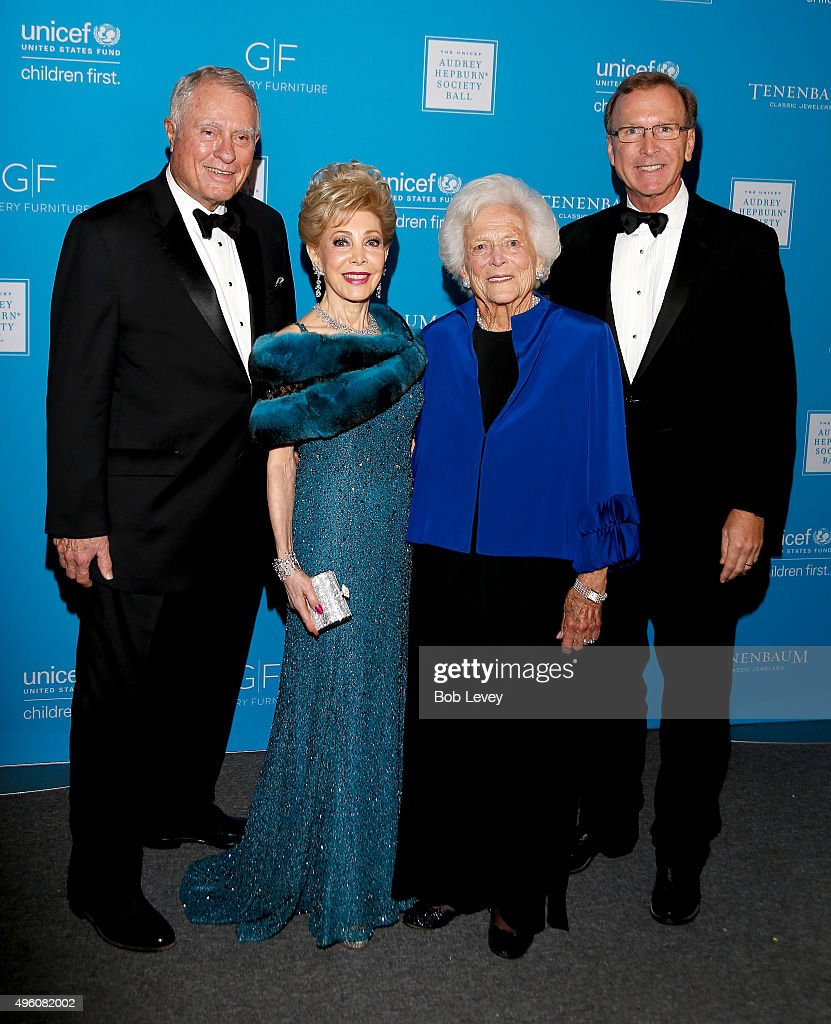 James Daniel presenter Margaret Alkek Williams honoree Barbara Bush and Neil Bush attend the UNICEF Audrey Hepburn Society Ball honoring former first...